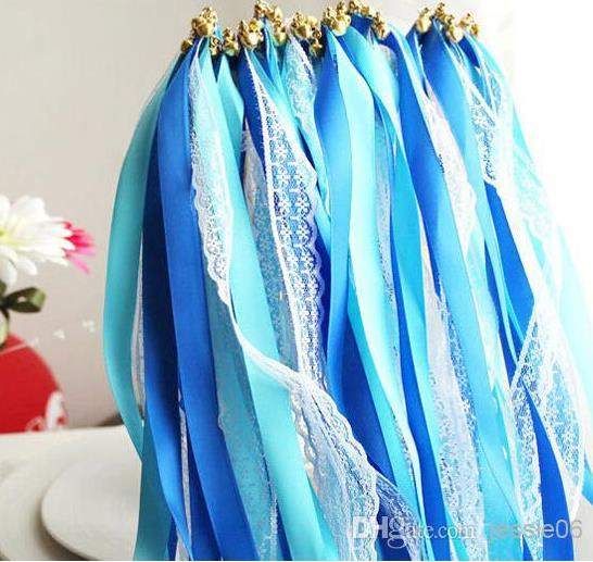 Newest Lace satin ribbon wand streamers wedding wish magic wands sticks bells confetti party props decoration events wedding favors supplies
