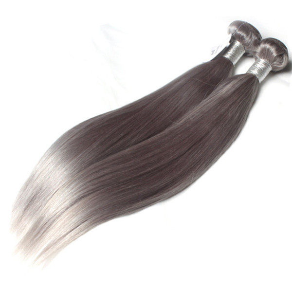 Brazilian Natural gray color hair Bundles Grey Human hair silky hair one donor easy to use 60g/Piecce&5pcs/Lot , free DHL