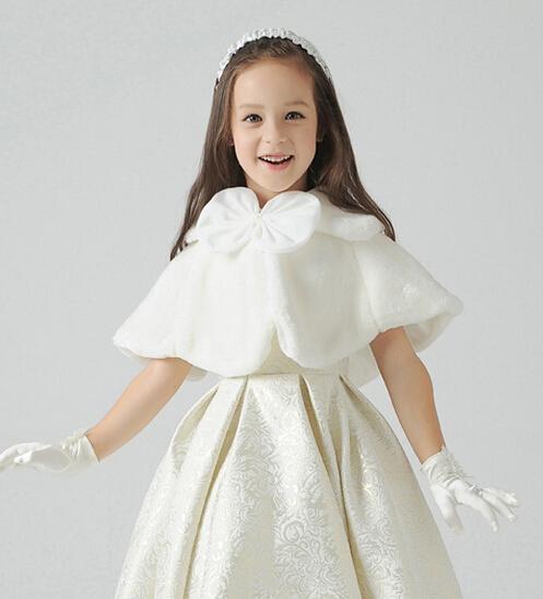 1 PCS 2015 crianças vestido acessórios de princesa Boleros de peles de flores xales Poncho da menina capa criança kid clothing 2 cores rosa frete grátis