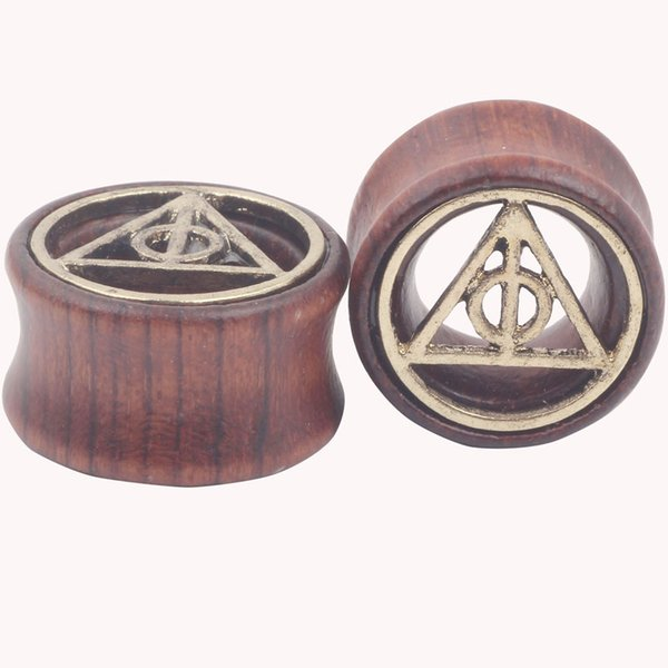Death Triangle Fit Wood Flesh Tunnel and Ear Plug Gauge Expander Stretching Piercing Jewelry Body Jewellery Mix 7 Sizes
