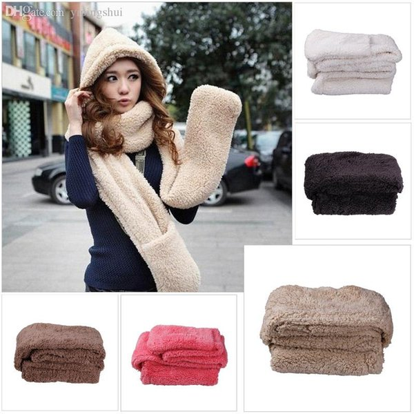 Wholesale-Fashion woman costume Fluffy plush brushy hat with long scarf and mittens winter Warm hat scarf gloves three-piece set Free ship