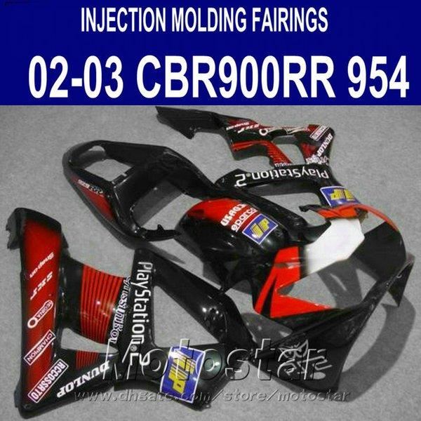 Free customize fairing kit for Honda Injection molding cbr900rr fairings 954 2002 2003 CBR 900RR red black motobike CBR954 02 03 YR48