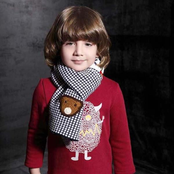 Unisex Children Little Bear Plaid Jacquard Knitted Scarf Child Kids Winter Warm Scarves Muffler Free Shipping