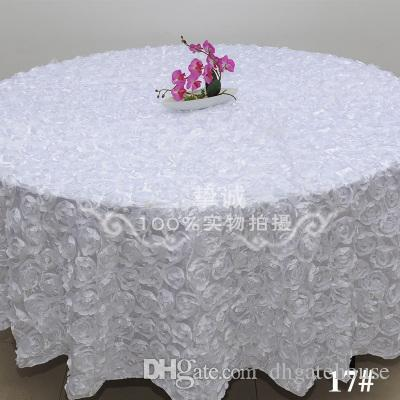White Fashion Wedding Banquet Table Cloth Round Overlays 3D Rose Round Tablecloths Wedding Decoration Supplier 7 Colors Free Shipping