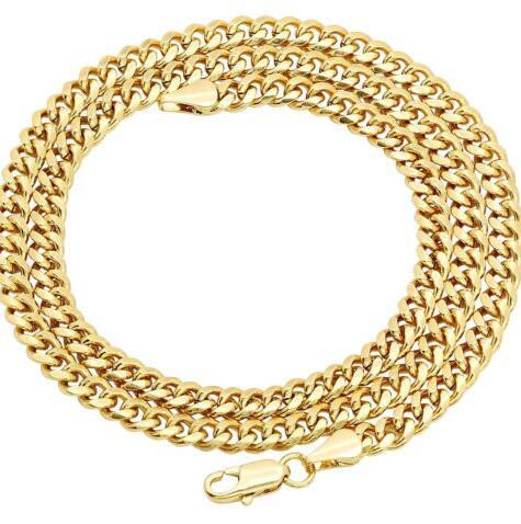 Men's necklace Yellow Gold Plated 6mm Cuban Curb Chain Link Necklace JP064