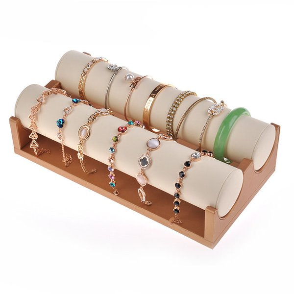 best selling High Quality PU Leather Bracelet Bangle Watches Jewelry Display Stand Holder Tube Rack Jewelry Organizer Showcase Props