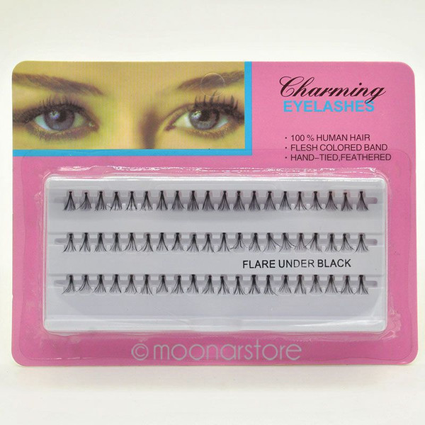 Wholesale-60pcs einzelne Wimpern Semi-Hand Made Black falsche Wimpern natürliche lange Cluster Extension Set Make-up 8/10 / 12mm Y70 * MHM048 # M5