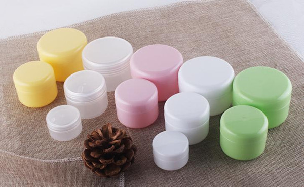 top popular 20g 50g 100g 5 color cream jar cosmetic container, High Quality plastic bottle, makeup sample jar, cosmetic packaging Free Shipping 2019