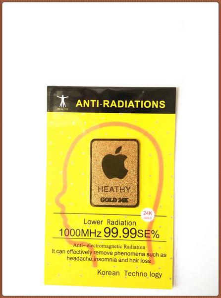Wholesale 2016 very hot 24K gold mobile phone anti radiation sticker Bio negative ion Scalar Energy stickr50pcs/bag free shipping