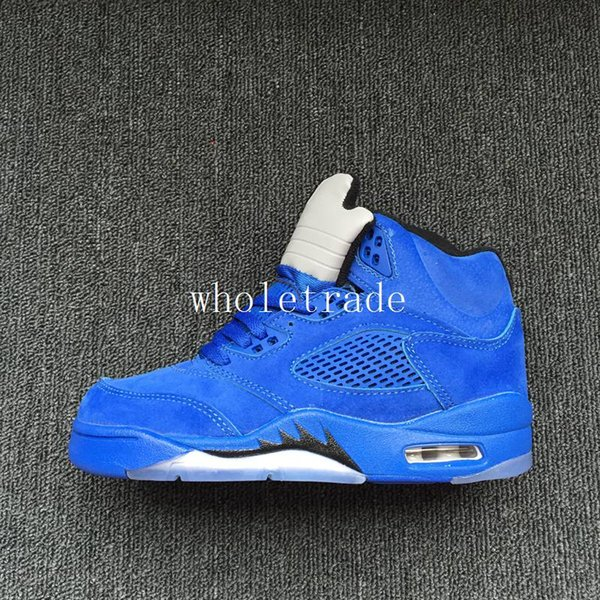 sports shoes c3953 0c589 Cheap Kids Air Retro 5 Blue Suede Basketball Shoes Retro 5s Blue Suede  Sneakers For Sale Size 28 35 From Dropshipper Wholetrade, Buy Free Running  ...