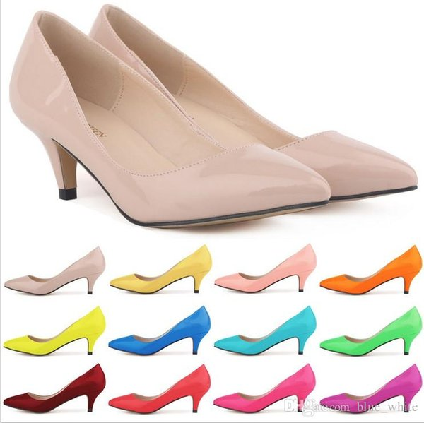 Classic Sexy Pointed Low Med Kitten Heels Women Pumps Shoes Spring Brand Design Wedding Shoes Pumps Big Size 13 colors available