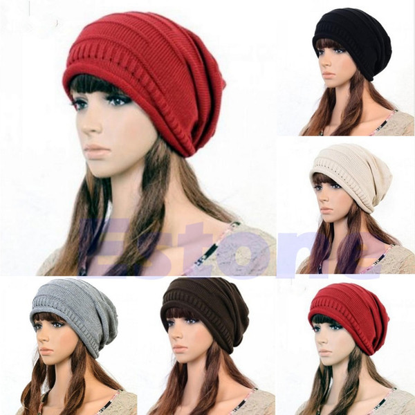 Wholesale-Free Shipping New Winter Unisex Oversized Slouch Cap Plicate Baggy Beanie Knit Crochet Ski Hat