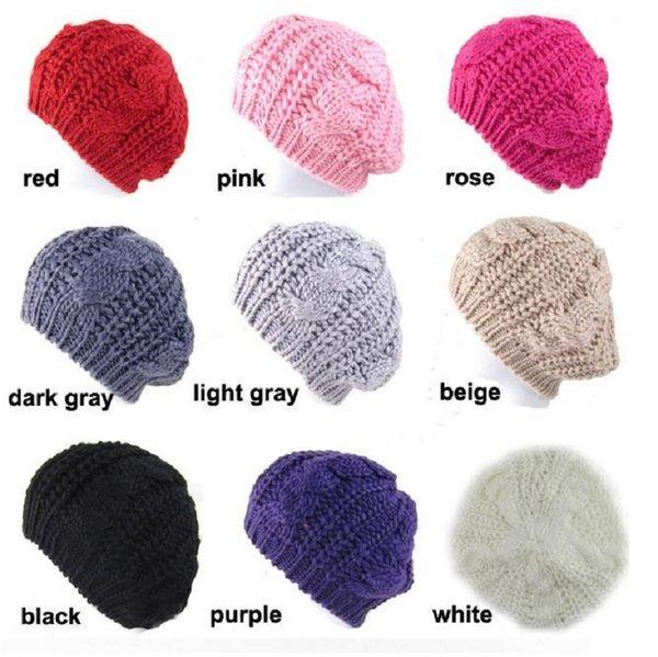 Femmes Lady Fashion 8 Couleurs Chaud D'hiver Béret Tressé Crochet À Tricoter Chapeau Fille Baggy Bonnet Chapeau Chapeau De Ski 1240