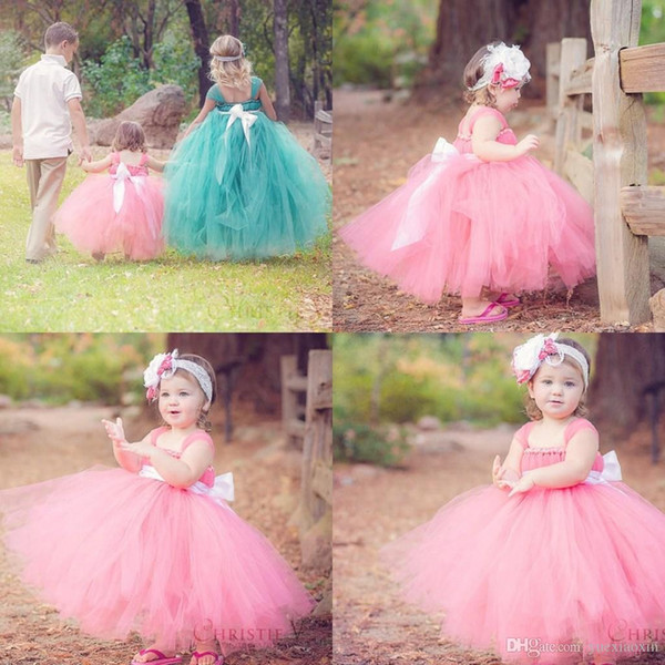 Little Girl's Pageant Dresses Glitz Toddler Pink Turquoise Long Baby Flower Girls Dress For Wedding Kids Princess Party Prom Gowns Bow