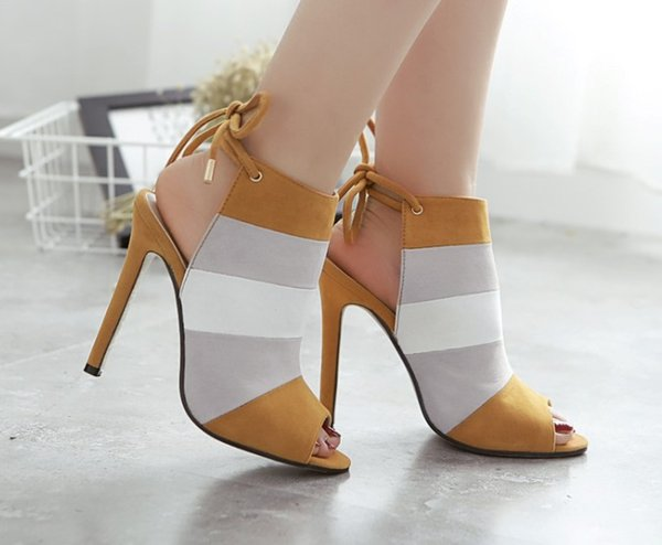 Color Block Rainbow Stripe Peep Toe Sling Back Lace Up Back Summer Sandals Women High Heel Shoes 11cm size 35 to 40