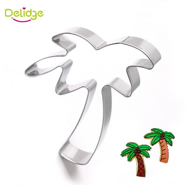 Wholesale- 1 pc Coconut Tree Cookie Mold Stainless Steel Palm Coco Cookie Cutter Tropical Plants Biscuit Cake Fondant Decoration Mold