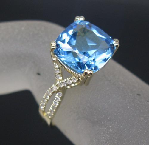 Free Shipping Solid 14K Yellow Gold Natural Swiss Topaz Diamond Engagement Ring(R0085)