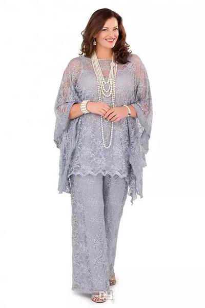 2019 Neue Spitze Mutter der Braut Hosenanzüge Plus Size Long Sleeves Silber Frauen Formale Kleider Drei Stücke Mutter Kleider für Hochzeit