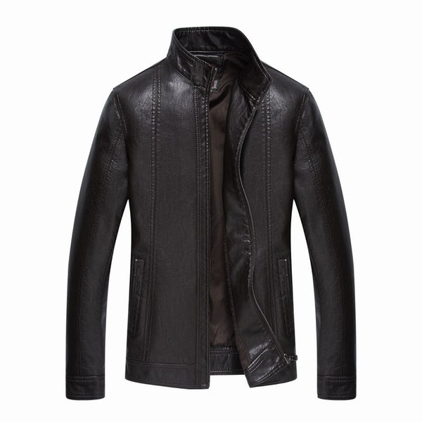 Wholesale- Brand New Leather Jackets Men Jaqueta De Couro Masculina Avirex Leather Jacket Inverno Couro Mens Stand Collar Jacket 203F