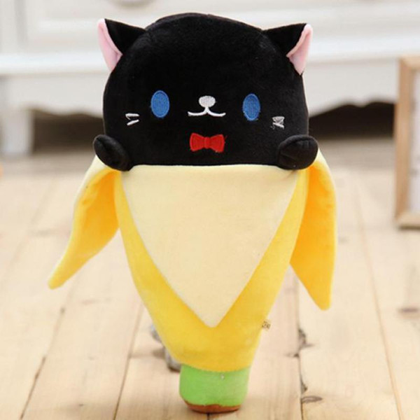 Wholesale- Japan Appease Baby Hidden Cat Banana 30-50cm 4 Colour Plush Soft Creative Doll Stuffed Toy For Baby Kids Birthday Gifts