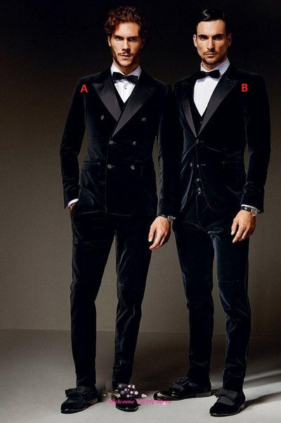 Inverno nero velluto formale uomo abiti due stili sposo sposo groomsmen picco risvolto matrimonio mattina abiti (giacca + pantaloni + vest + cravatta)