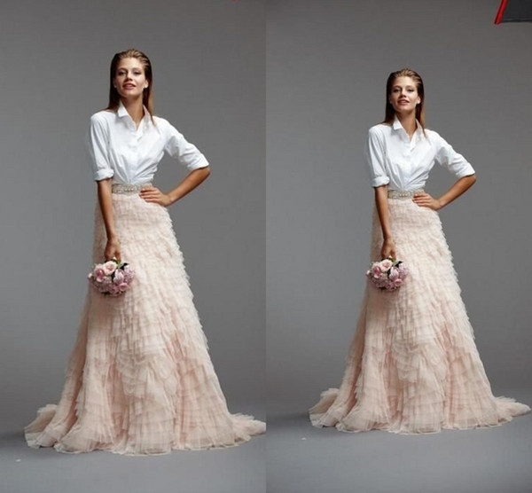 top popular New Designer Ruffles Flouncing Tulle Skirts Long Length Tiered Custom Made Cheap In Stock Wedding Dress Prom Gown Tulle Free Shipping 2021