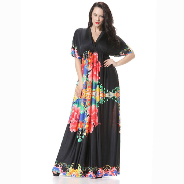 New Eve Dresses Woman Ice Silk Black Chain Print Beach Long Dress ...