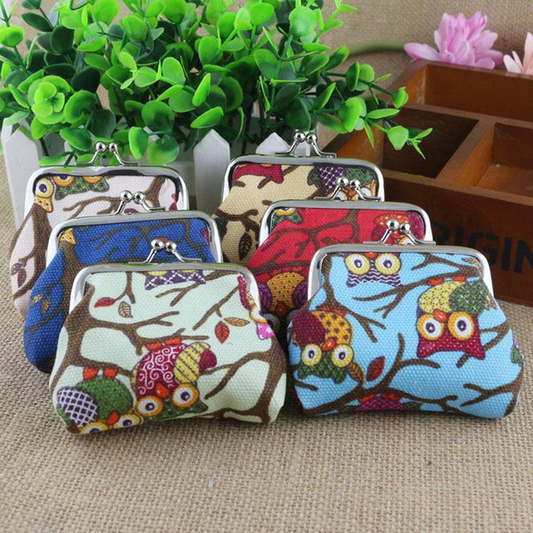 Canvas owl print coin bags for lady mini purse wallet 6colors 12pcs/lot Free Shipping