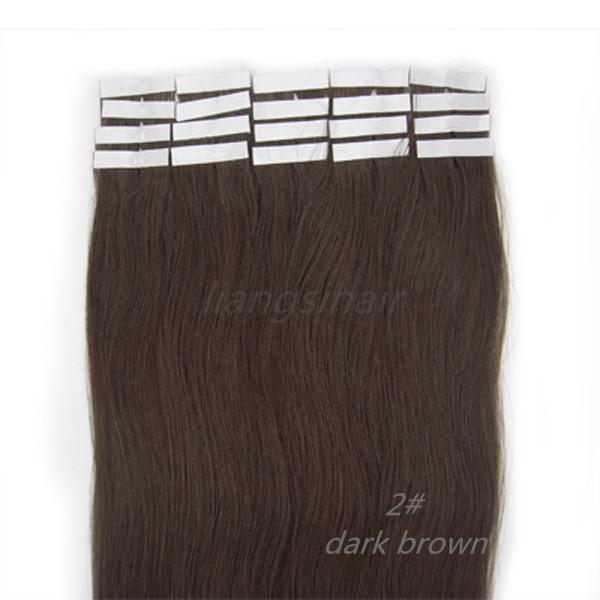 "Brazilian Indian Malaysian Peruvian Virgin Remy Human Hair Extensions 1 Set Straight Tape Skin Weft Bundles 18""-26"" 20pcs/set 2# Dark Brown"