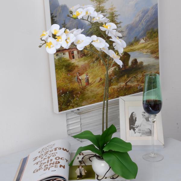 Wholesale 2 color 58cm 12 heads Phalaenopsis Artificial flower EVA silk flower decoration butterfly flower for home table vase