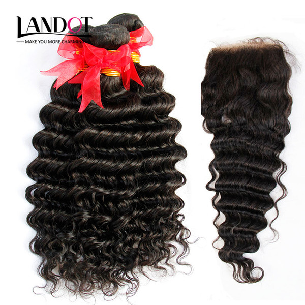 8A 5Pcs Lot Brazilian Deep Wave Curly Virgin Hair With Closure Unprocessed Human Hair Weaves 4Bundles And 1Piece Lace Closures Natural Color
