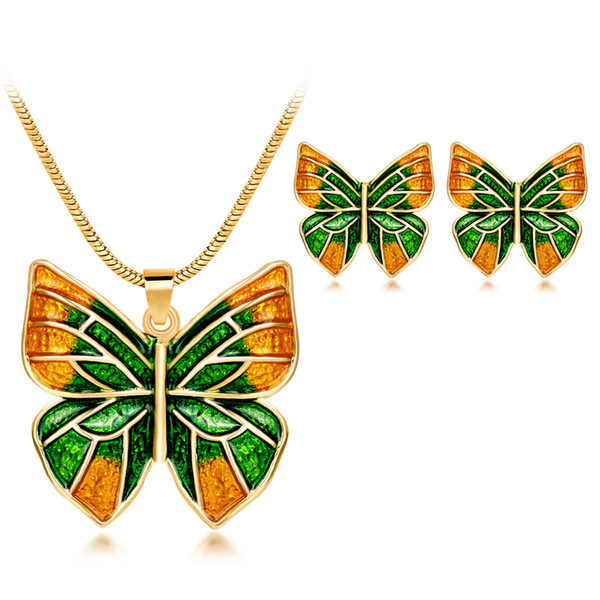 Fashion magazine design butterfly jewelry sets nature ruili color alloy dripping oil jewelry set women necklace and earrings CA532