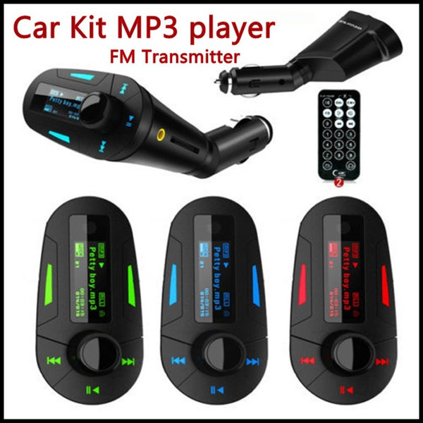 best selling 3 Colors Car Kit MP3 Player Wireless car FM Transmitter Radio transmiter With USB SD MMC+ Remote Control Free DHL