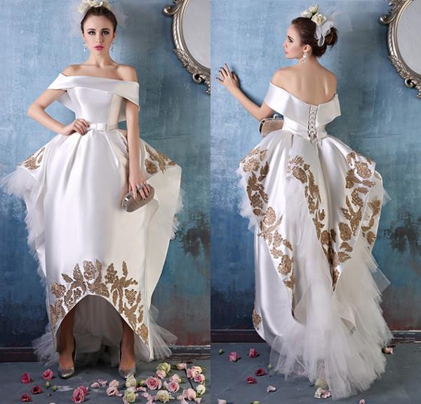 2016 Elie Saab Evening Gowns Gold Applique Hilo Prom Dresses ...