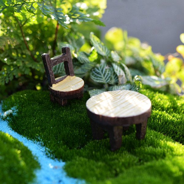 Vintage Table Chair Fairy Garden Decoration Terrarium Mini Figurines Miniatures Resin Craft Home Decor DHL Shipping Free