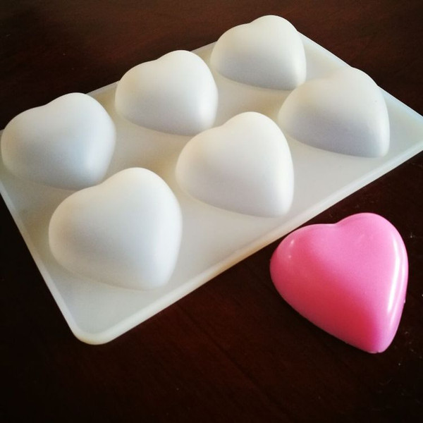 6 Cube Heart Shape Craft Art Silicone Soap mold Craft Molds DIY Handmade soap Fondant Cake Loving Heart Gum Paste Fondant Clay Soap Mold