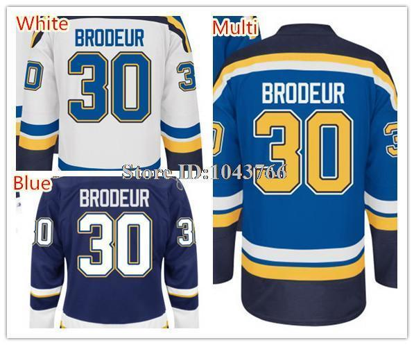 30 Teams-Wholesale NWT Blue 30 Martin Brodeur Hockey Jersey White 100% Polyester Martin Brodeur Jersey Best Stitched Quality Drop Shipping