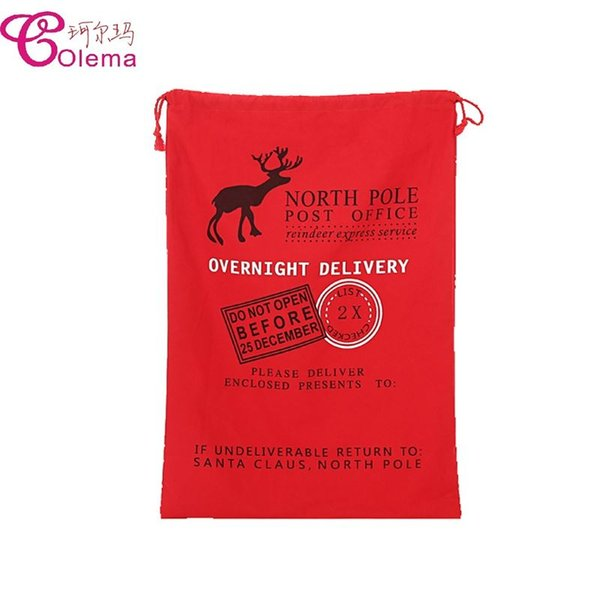 New Red Color Canvas Santa Sack Cotton Material Christmas Gift Bag For Christmas Gift Packing Free Express Shipping