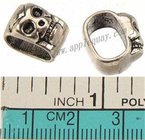 Spacer Beads Charms Multilayer Bangles DIY Retro Silver Skull Slider 10*7mm Big Hole Metal Jewelry Making Crafts Findings 13*8*12mm 50pcs