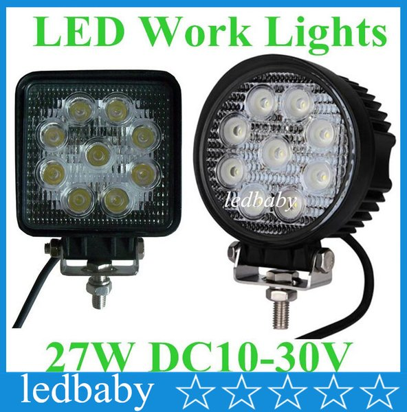"30pcs 12V 24V 4"" 4inch 27W Spotlight Floodlight car Tractor Truck SUV boat 4X4 4WD Jeep Offroad driving LED work light bulbs bar"