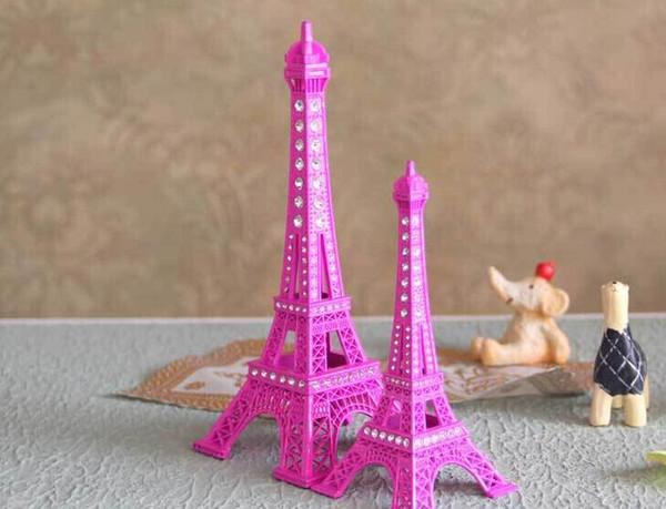 18CM Crystal Rhinestone paris Eiffel Tower Model Alloy Eiffel Tower Metal craft for Wedding centerpieces table centerpiece