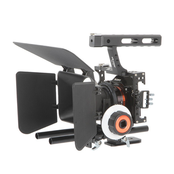 Freeshipping DSLR Video Film Stabilizer Kit 15mm Rod Rig Camera Cage+Handle Grip+Follow Focus+Matte Box For Sony A7 II A6300 /GH4