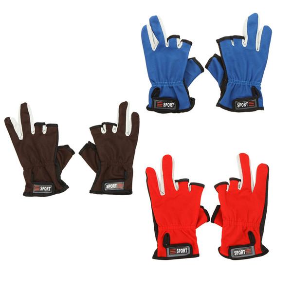 Venta al por mayor-caliente deportes de poliéster algodón guantes de pesca ajustable transpirable antideslizante 3 dedos de corte bajo guantes de pesca