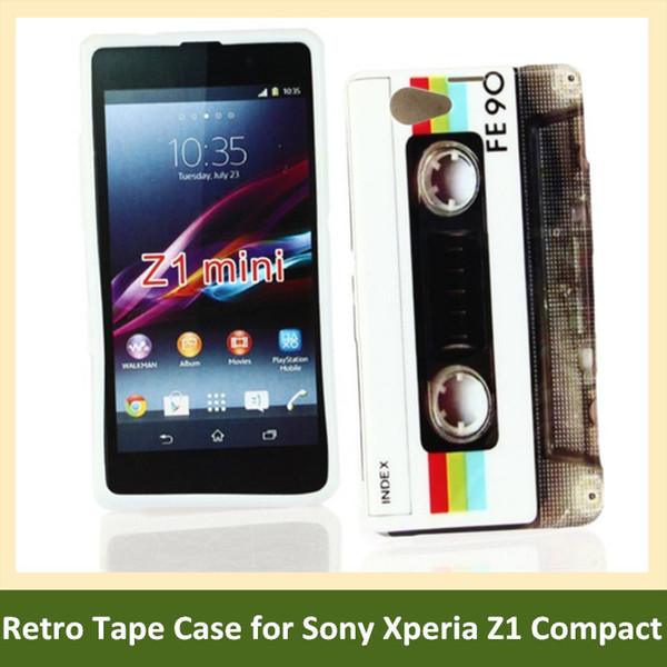 Wholesale Retro Cassette Tape Print Soft TPU Cover Phone Case for Sony Xperia Z1 Compact /Z1 Mini/M51w Free Shipping