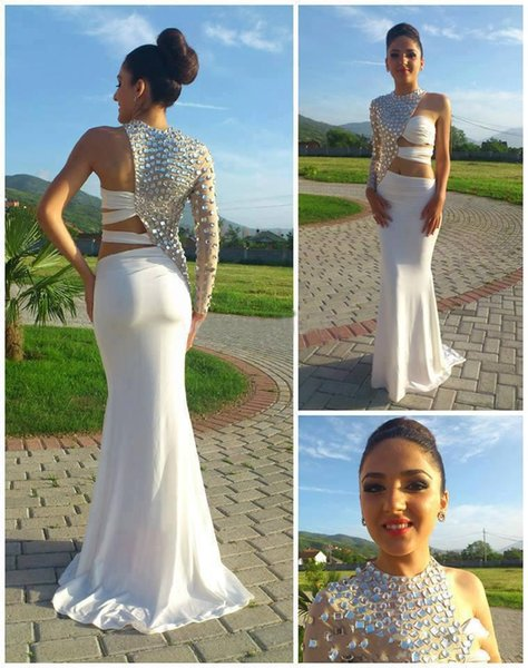 Sexy Prom Dresses 2019 Asymmetrical One Sleeve Cut Out Prom Dress Crystal Beaded Evening Gowns Fitted Pageant Dresses China Prom Dresses new