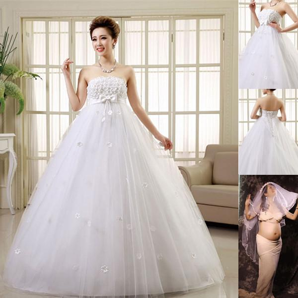 Discount Pretty Pregnant Wedding Dresses Women Married Strapless A ...