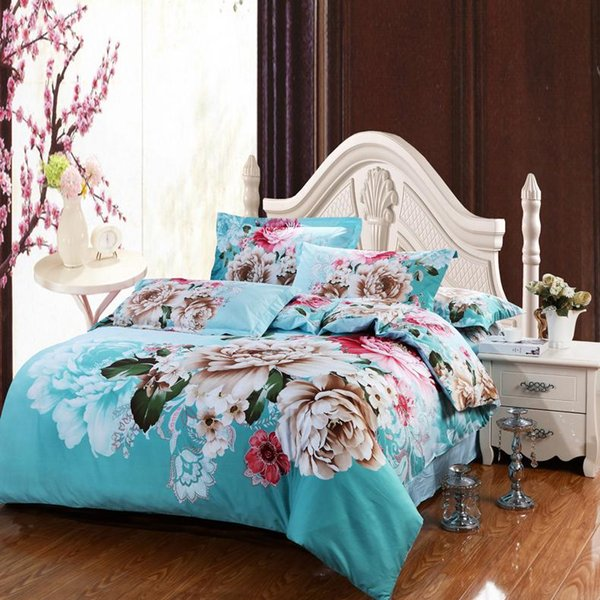 Ropa de cama de cama de impresión reactiva de flor de peonía a estrenar 100% algodón edredón de reina / edredón sábana plana 4/5 piezas de juegos de edredón