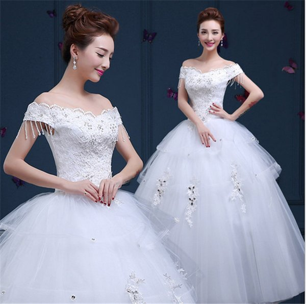 2015The Manual Hanging Bead Shoulder To Shoulder Wedding Dress Neat A Word Bitter Fleabane Bitter Fleabane Skirt Strap Wedding Dress Lace El