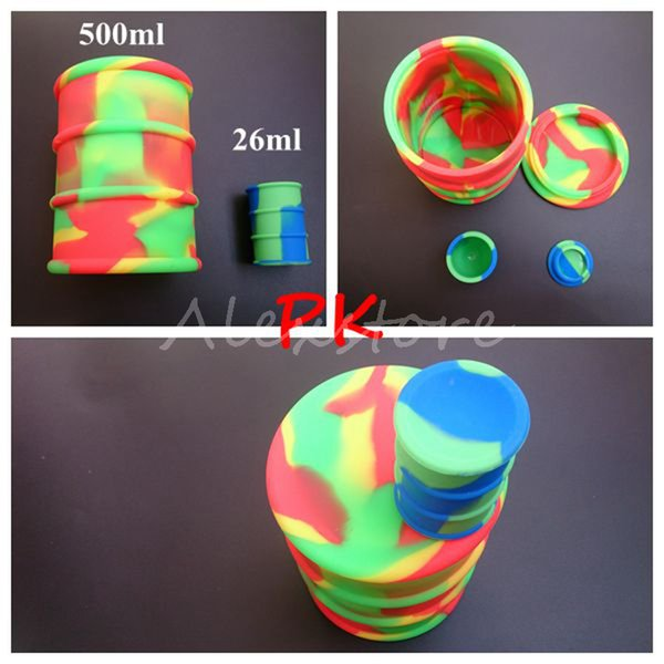 Big 500ml silicone oil barrel container jars dab wax vaporizer oil rubber drum shape container large food grade silicon dry herb herbal