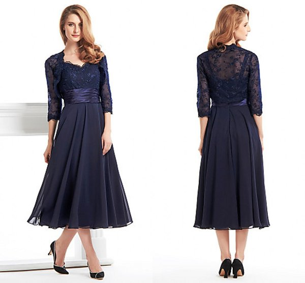 Ink Blue Tea Length Dresses For Mother Lace Long Sleeve Jecket Chiffon Plus Size Of